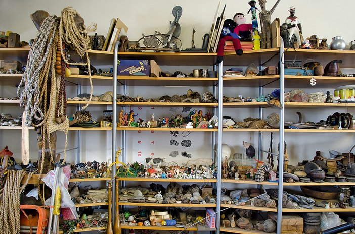 Collected objects on shelves in Richard Deacon's studio, October 2013