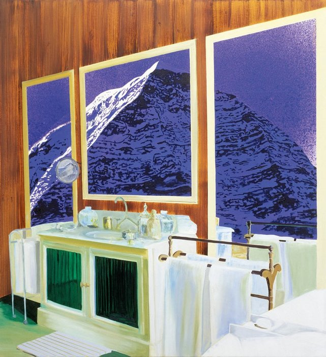 Dexter Dalwood Nietzsches Chalet 2001 interior view of a bathroom with a three panelled painting of a mountain hung on a wood panelled wall