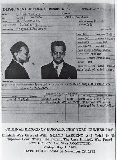 Dinshah Ghadialis criminal record 1931