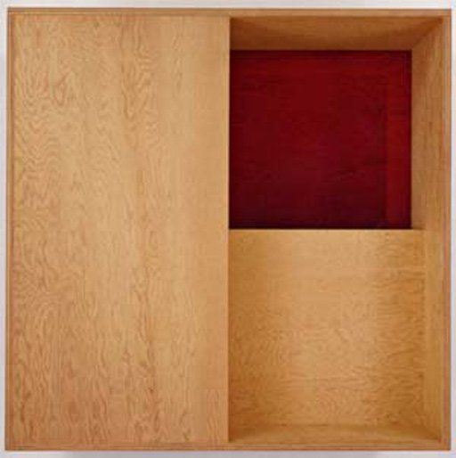 Donald Judd Untitled 1987 Plywood with red Plexiglas