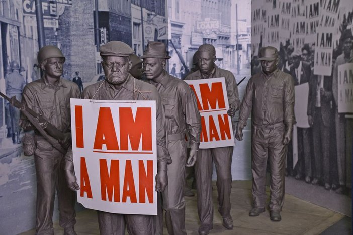 Display about the Memphis Sanitation Workers' Strike in the National Civil Rights Museum, Memphis, Tennessee