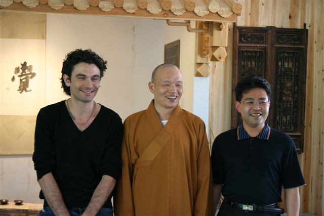 Ed Eisler from Jing with one of the monks Photo: Benjamin Presland