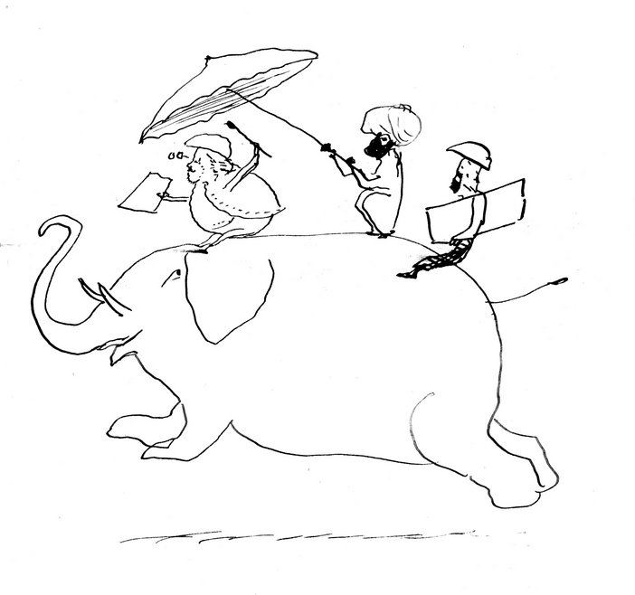 Edward Lear Drawing of the artist and Giorgio on an elephant, from a letter to Lady Waldegrave, dated 25 October 1873