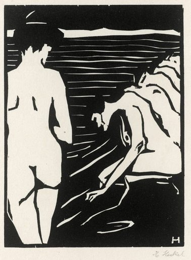 Erich Heckel Female Nudes 1906 nude female figure in the foreground with line of kneeling female nudes receding in to the distance
