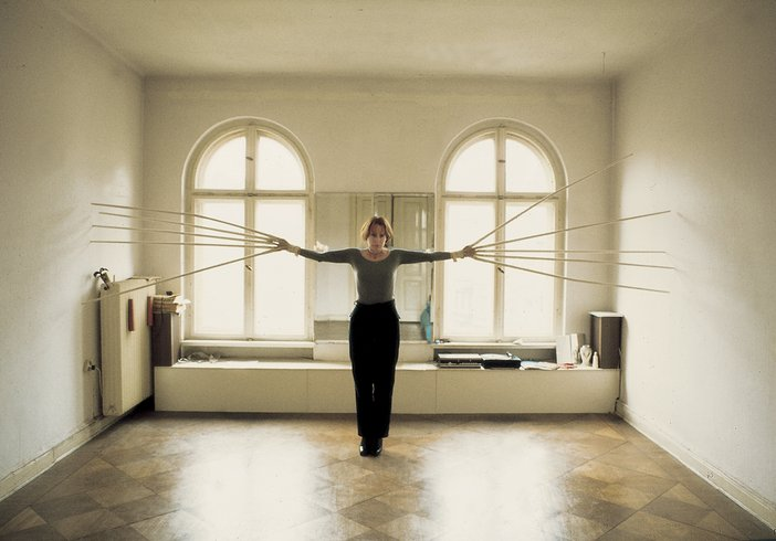 Rebecca Horn, Berlin Exercises Film 'Touching the walls with both hands simultaneously' 1974, photo by Helmut Wietz