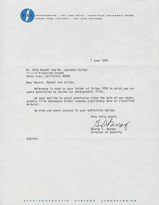 Reply from ESL Incorporated to Larry Sultan and Mike Mandel, 7 June 1976