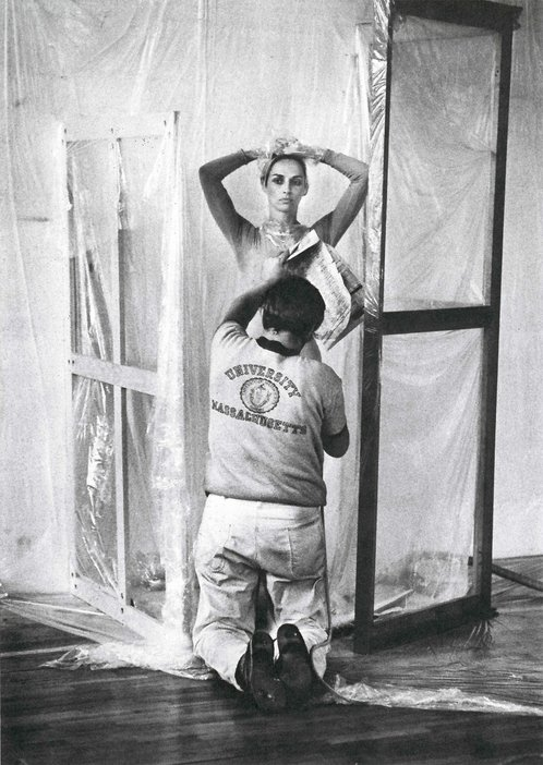 James Klosty, Jasper Johns Spray-Painting Carolyn Brown's Costume for Canfield 1969