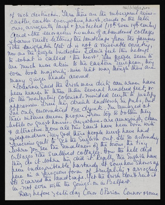 Letter from Marie Seton to Ronald and Helene Moody, Athlone, Co. Westmeath, and Dublin, 29 July-8 August 1966