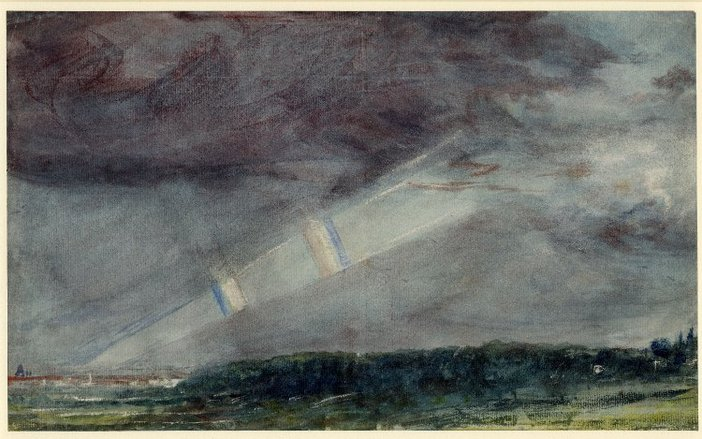 John Constable London, from Hampstead Heath in a Storm; with Double Rainbow Seen beneath Purple Masses of Cloud 1831