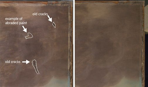 A diagram showing the cracked canvas and then the smooth canvas after inpainting