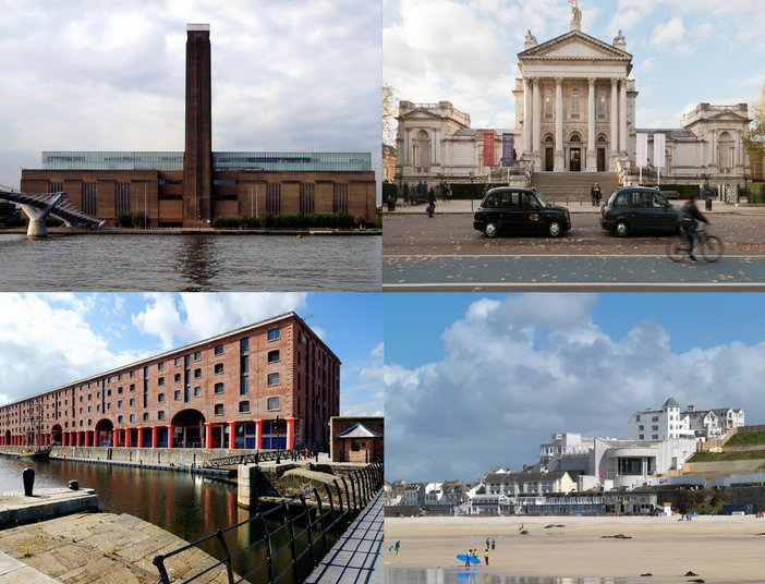 Exterior shots of the four Tate galleries. Clockwise from top left: Tate Modern, Tate Britain, Tate St Ives and Tate Liverpool