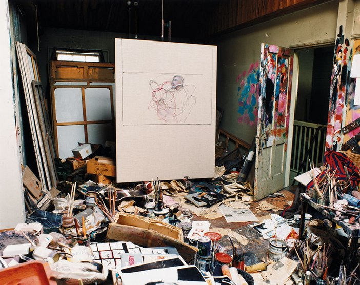 Francis Bacon's studio with his last painting possibly the beginnings of a portrait of George Dyer on the easel 1992