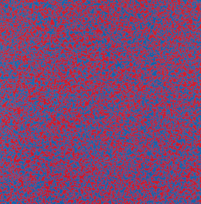 Random Distribution of 40000 François Morellet Squares using the Odd and Even Numbers of a Telephone Directory 1960 painting of red and blue squares