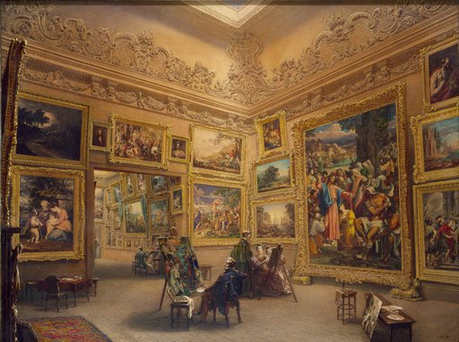The National Gallery at Mrs J J Angersteins House Pall Mall prior to May 1834 painting of a gallery with pictures stacked wall to wall with figures in old dress gazing at the pictures