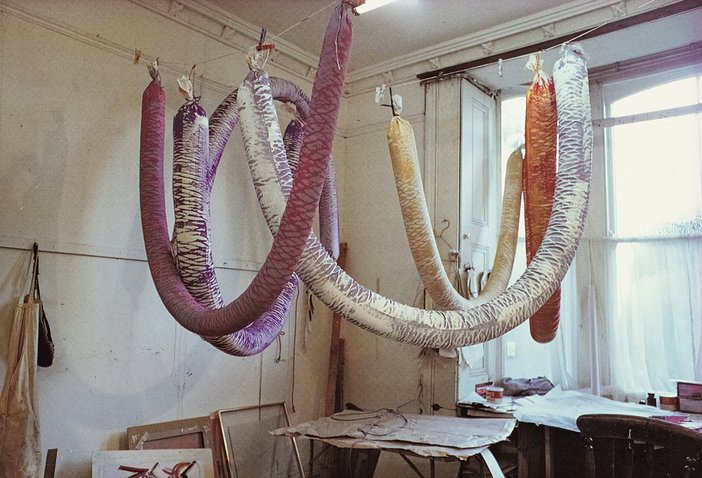 Terry Frost's soft sculptures, made from painted and filled canvas, with help from his family, between 1970 and 1972