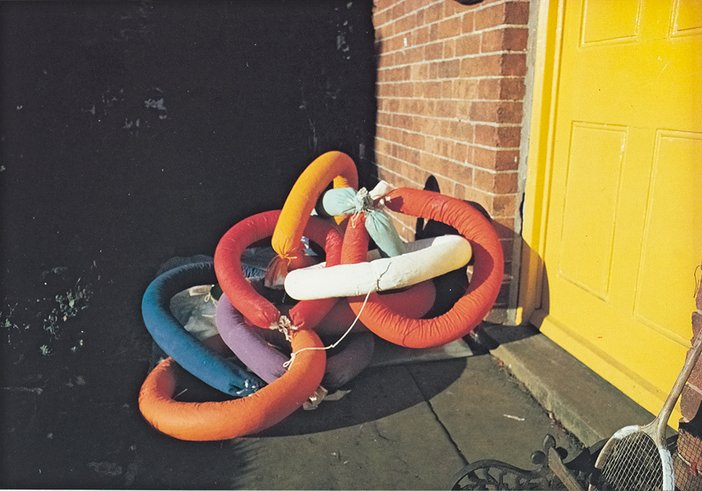 Terry Frost's soft sculptures outside his house in Banbury, c1970-72