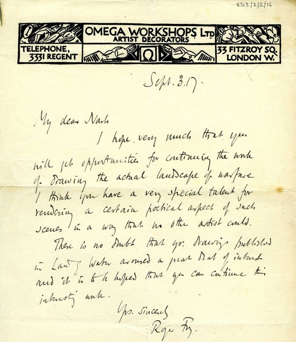 Letter from Roger Fry to Paul Nash encouraging Nash to pursue his intention to become a war artist