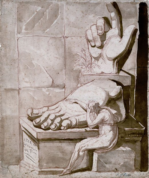 Henry Fuseli Drawing of a figure seated before gigantic antique fragments circa 1778-80