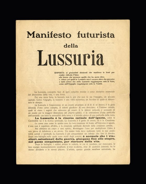 Title page of Valentine de Saint Point Futurist Manifesto of Lust