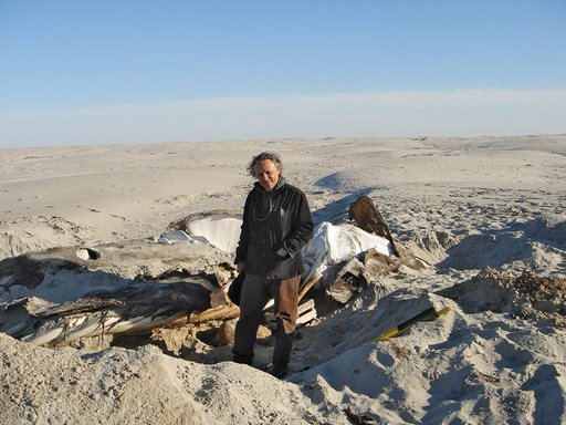 Gabriel Orozco with whale skeleton Isla Arena Baja California 2006 photograph of the artist with a partially exposed whale skeleton in the desert