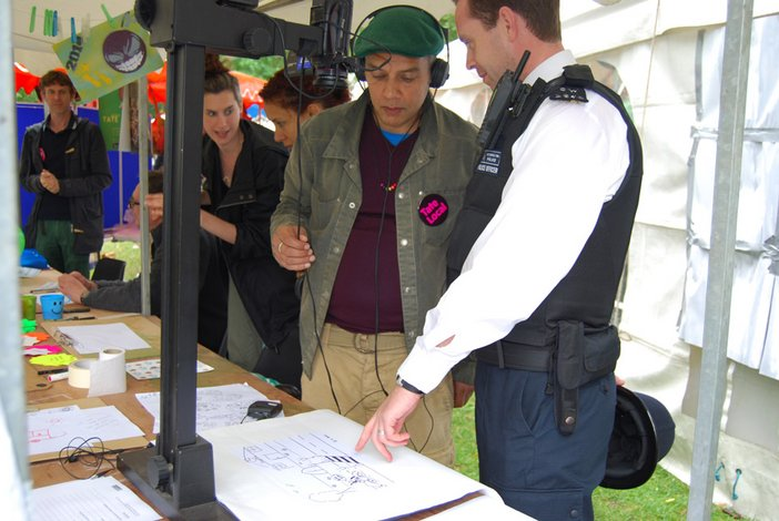 A local copper talking through his game idea as part of Play your Place – Play South Westminster