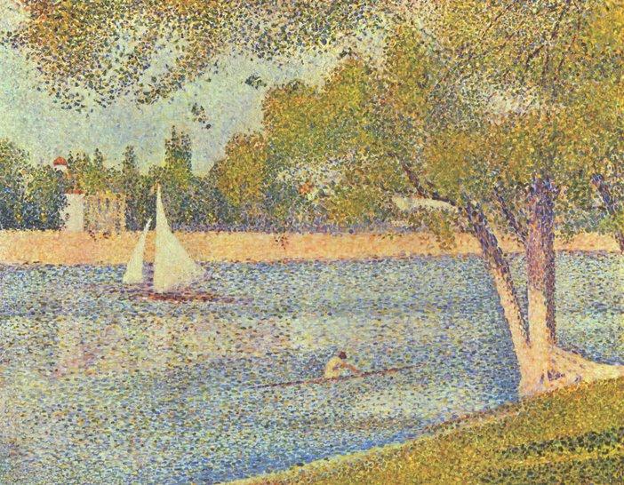Georges Seurat, The Seine and la Grande Jatte - Springtime 1888