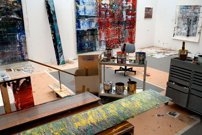 Gerhard Richter studio in Cologne showing work from the Cage series in progress