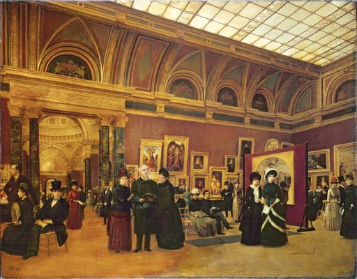 Giuseppe Gabrielli The National Gallery 1886 painting of the interior of a gallery filled with visitors in old dress