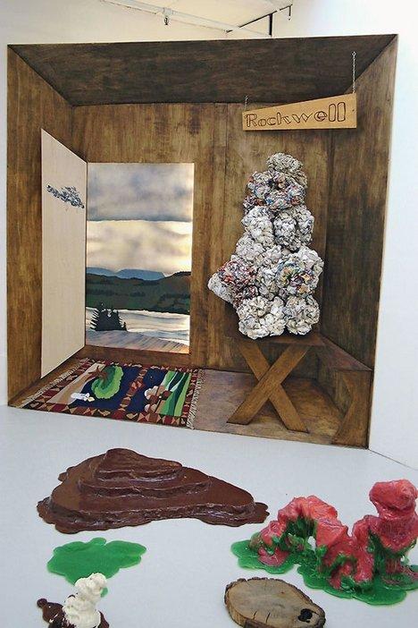 Goshka Macuga Cabin, featuring the works of Ian Dawson Paul Mc