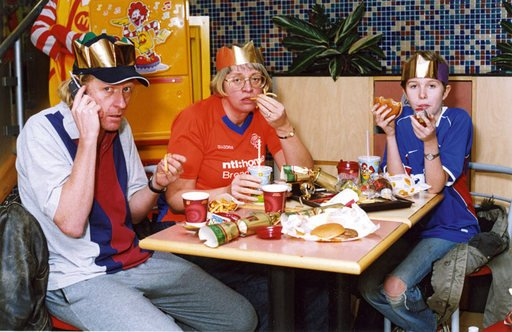 Christmas card from Grayson Perry with him and family in McDonalds 2004