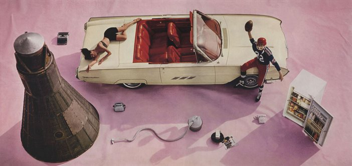 Richard Hamilton Photograph for the cover of Living Arts Magazine 1963 showing a bird's eye view of a white car on a pink floor