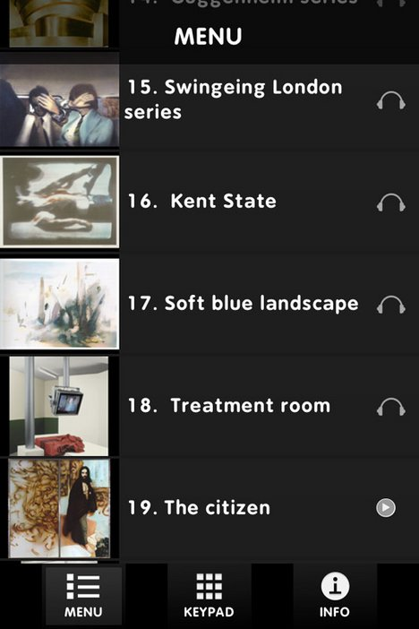 Menu screenshot from Richard Hamilton exhibition app