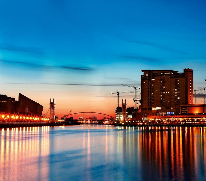 Salford Quays Manchester home to Media City UK The Lowry and Imperial War Museum North