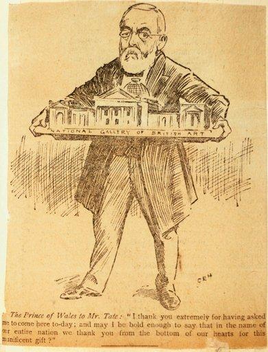 Henry Tate holding a model of Tate Gallery Pall Mall Gazette 21 July 1897.