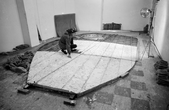 Barbara Hepworth working on the armature of Single Form in the Palais de Danse, St Ives