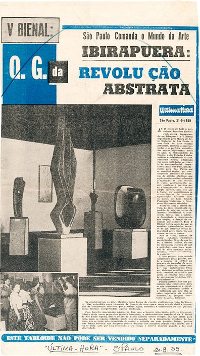 Cutting from the Brazilian newspaper Última-Hora, 21 September 1959, showing Barbara Hepworth's sculptures at the 5th São Paulo