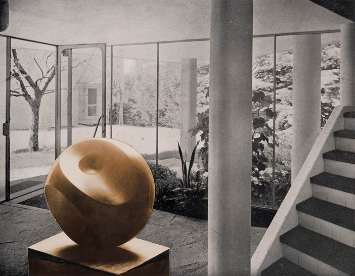 Barbara Hepworth photomontage of Helicoids in Sphere 1938