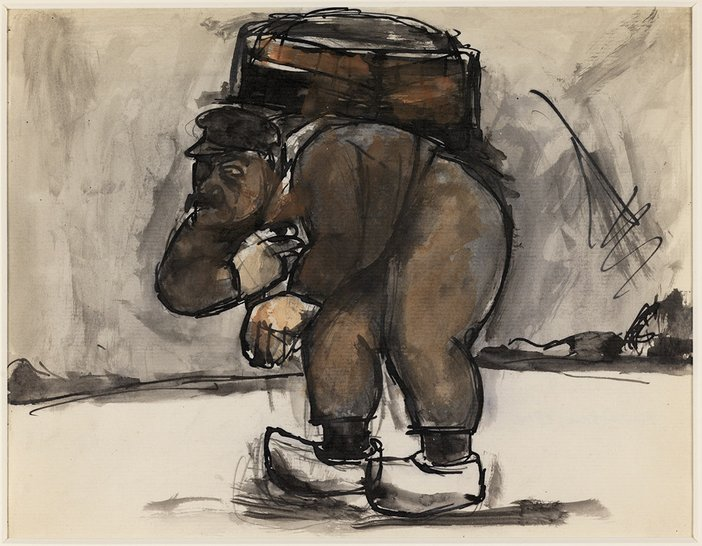 Josef Herman's Untitled, man in clogs, bent under a back-pack