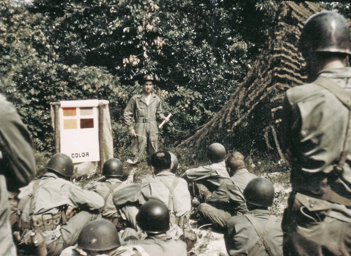 Photograph of a camouflage lesson featured in Rick Beyer and Elizabeth Sayles's The Ghost Army of World War II 2015