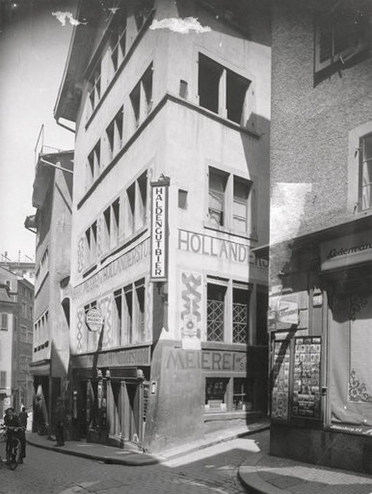 The site of Hugo Ball's nightclub Cabaret Voltaire as photographed in 1935