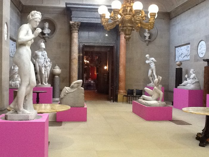 The Sculpture Gallery at Chatsworth House with Michael Craig-Martin's plinths