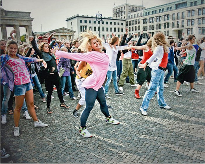 Participants in a Michael Jackson Zombie Flashmob at the Brandenburg Gate Berlin 2009