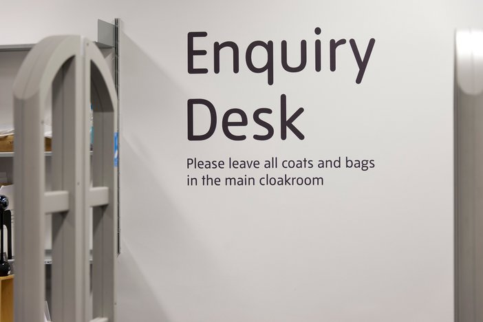 Sign for the enquiry desk the Hyman Kreitman Reading Rooms, Tate Britian