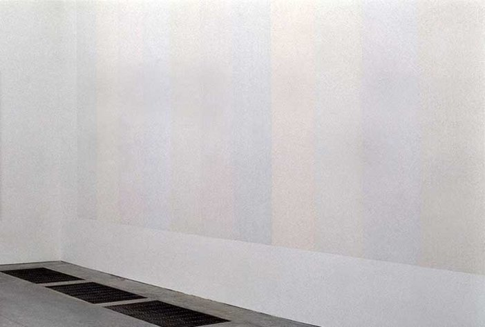 Sol LeWitt A Wall Divided Vertically into Fifteen Equal Parts, Each with a Different Line Direction and Colour, and All Combinations 1970
