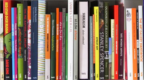 The spines of various Tate Publishing books
