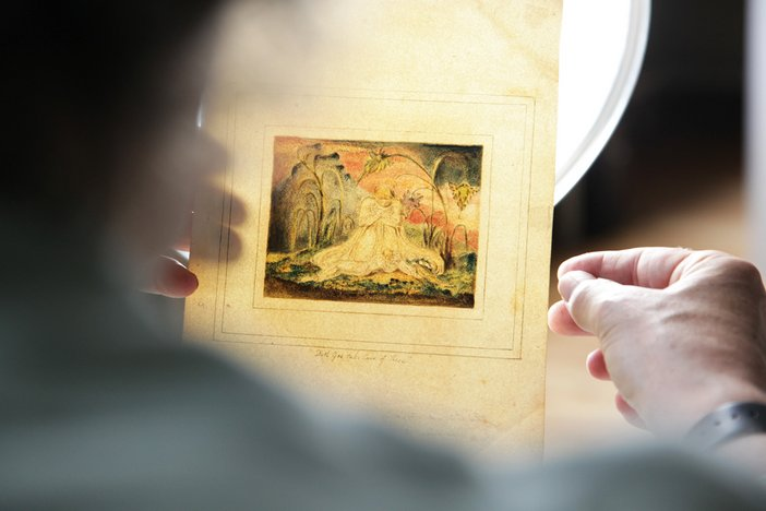 A Tate conservator handles William Blake The Book of Thel pl. 6 1796