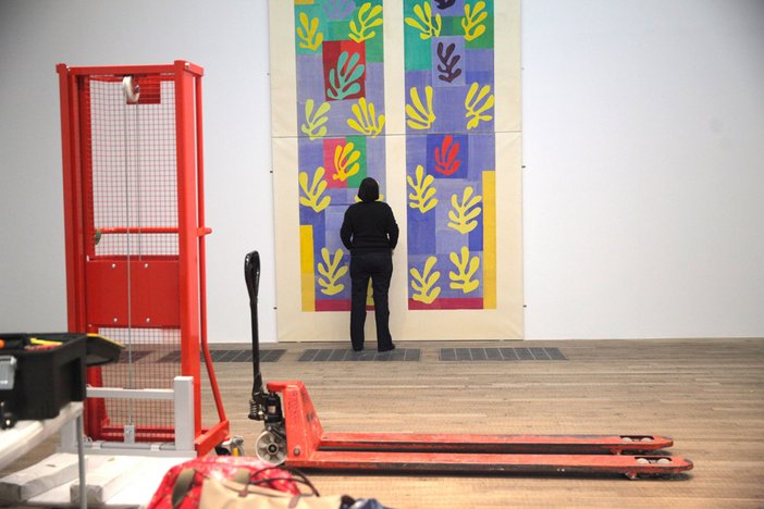 Henri Matisse The Cut-Outs Installation Pale Blue Window 2014  during installation at ther Tate Modern exhibition