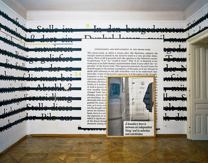 Installation view of Joseph Kosuth Zero and Not exhibition at the Sigmund Freud museum Vienna