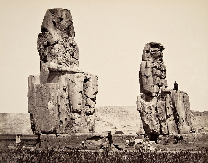 Francis Frith, The Statues on the Plain Thebes 1857