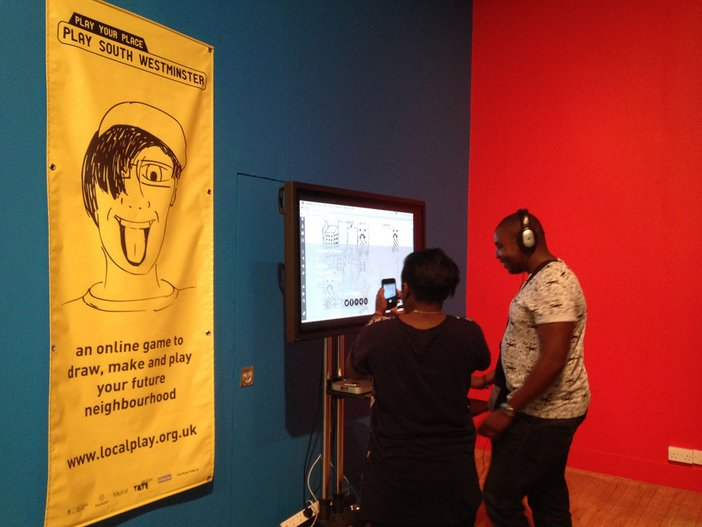 Local man Jamal at Tate Britain playing the game he designed as part of Play Your Place – Play South Westminster